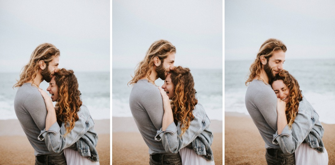 couple photography on a beach in Barcelona