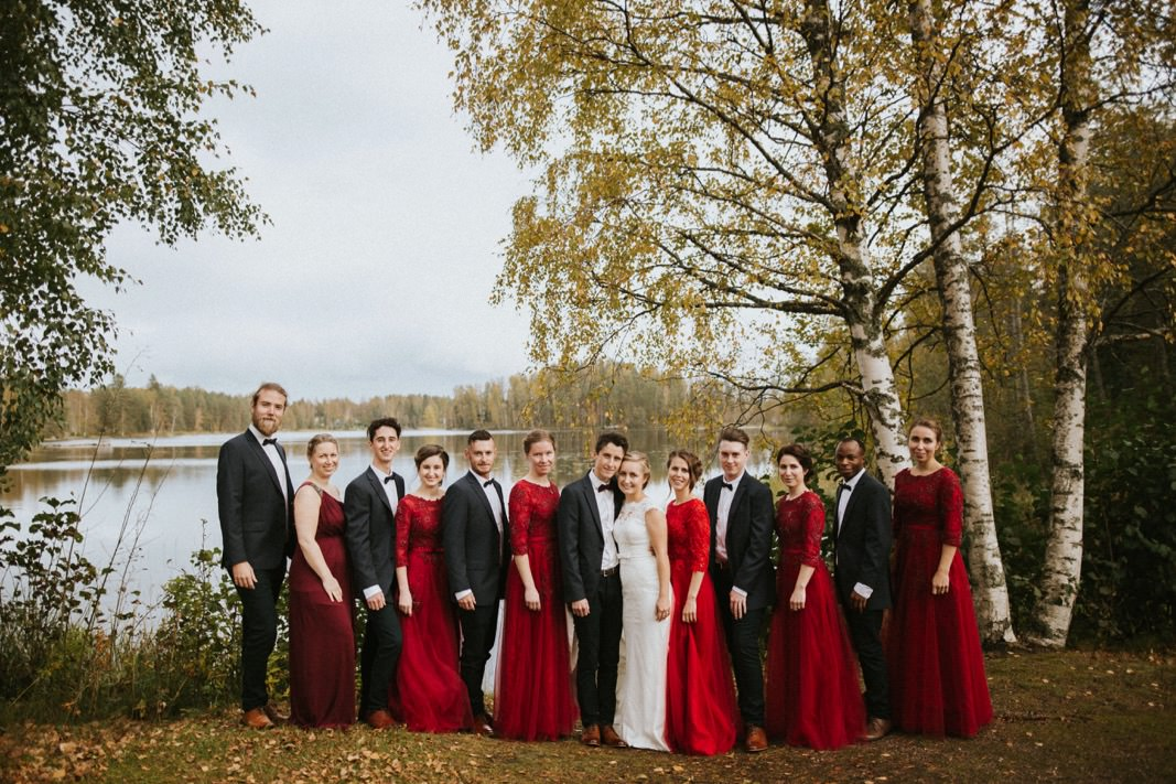 bridal party fall colours
