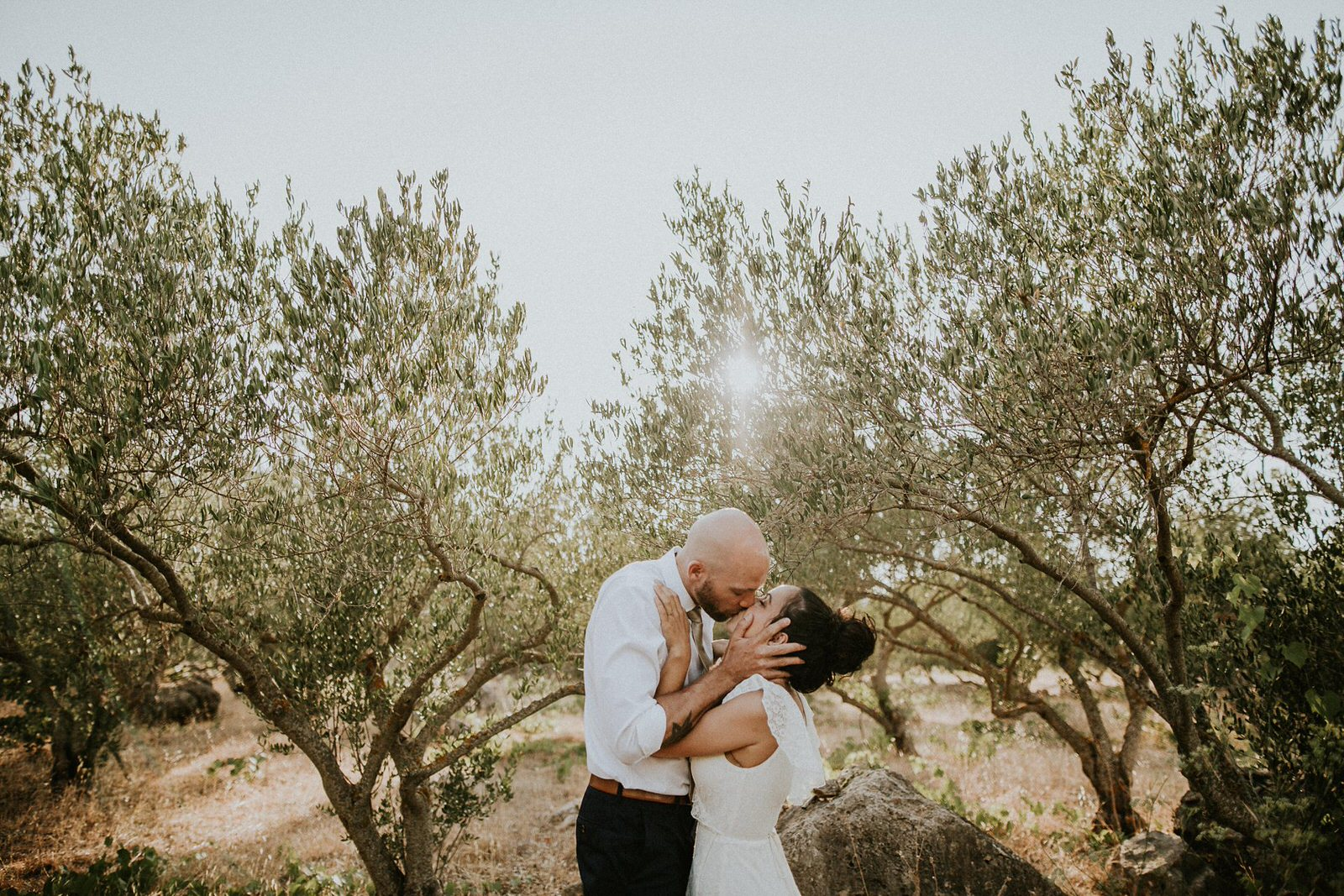 couple kissing in olive trees on island Hvar