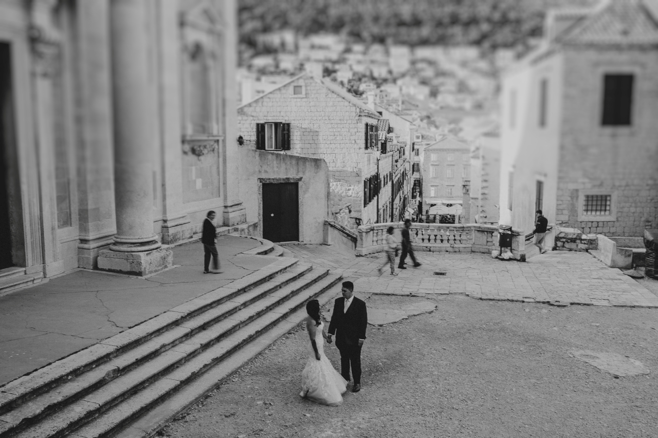 Bride and groom at Game of thrones location in Dubrovnik old town