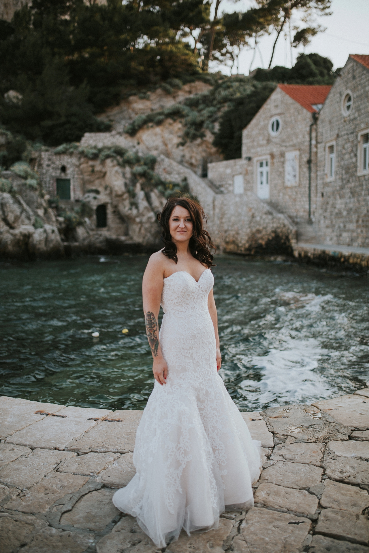 bride in beautiful Dubrovnik by the sea